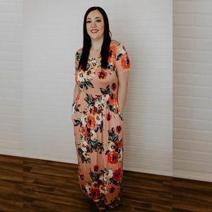 PLUS Floral Jersey Knit Maxi Dress - Blush